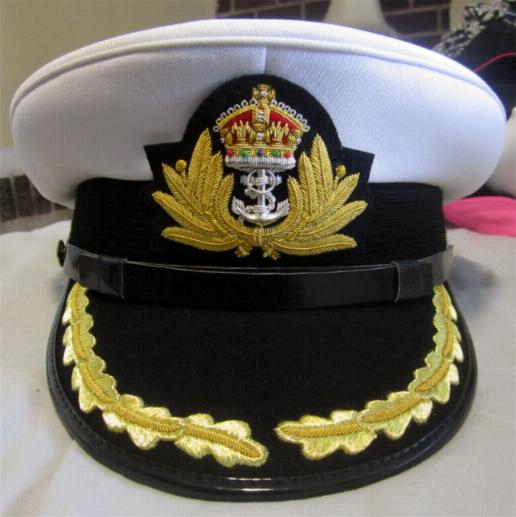 Royal Navy Officers Hat Cap Captain Rank White New King